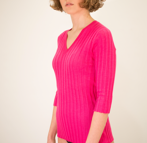 LA ROSE V neck fucsia