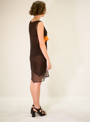 LA ROSE brown-orange long silk dress