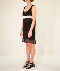 LA ROSE black-white long silk dress with rouches