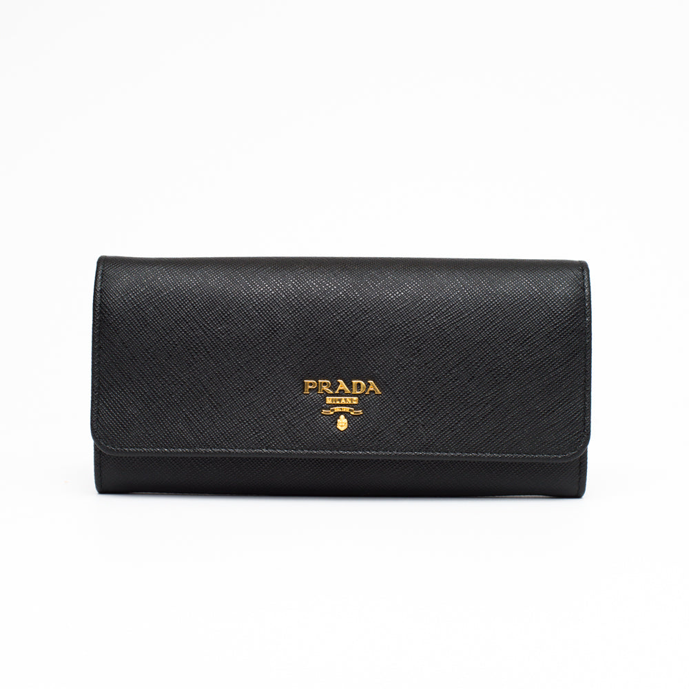 Prada black wallet continental