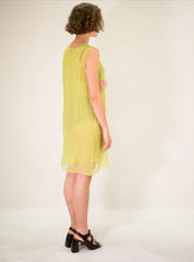 LA ROSE green-pink silk dress with rouches