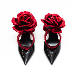 SAINT LAURENT pointed flower pumps