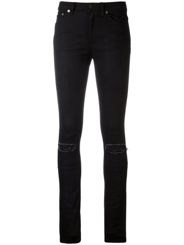 SAINT LAURENT Medium waist denim nero+toppe+pelle