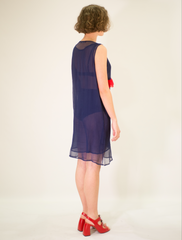 LA ROSE blue-red silk dress with rouches