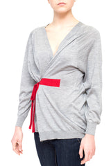 La Rose cardigan over cashmere+silk grey
