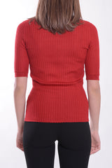 La Rose Crewneck ribs red