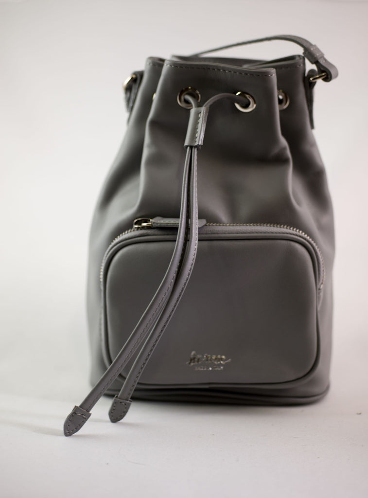 LA ROSE leather satchel grey