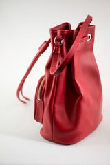 LA ROSE leatehr satchel bag red