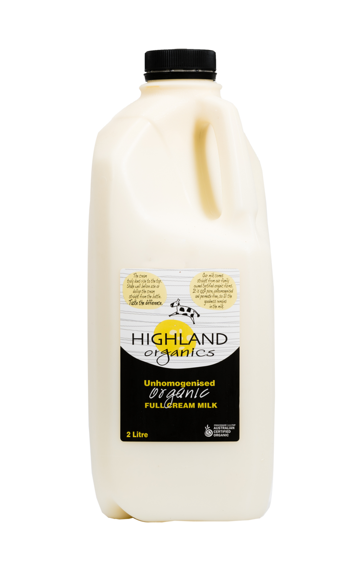 Unhomogenised Organic Fullcream Milk - Milk - Highland Organics - Dairy Goodness
