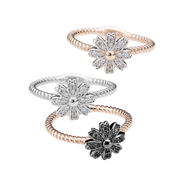 Botanical Garden Cosmos Pave Silver Ring (3 color)