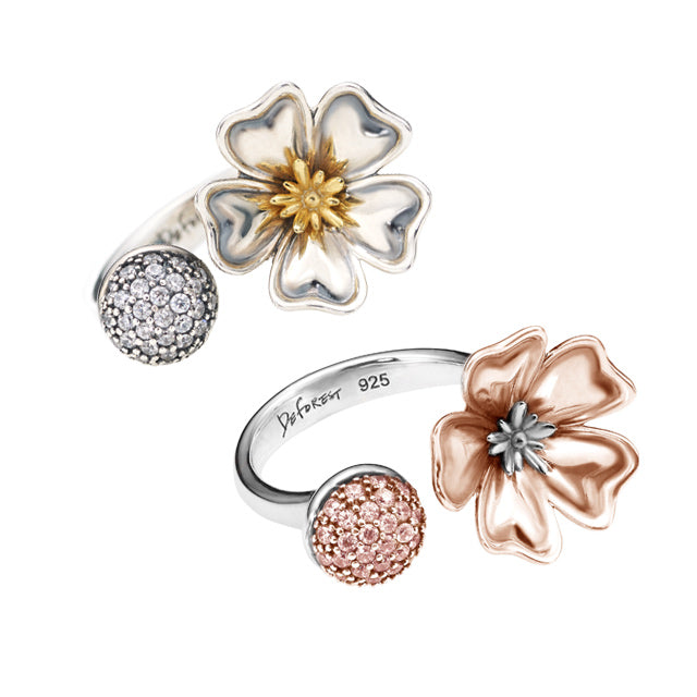 Botanical Garden Cosmos Silver Open Ring (2 color)