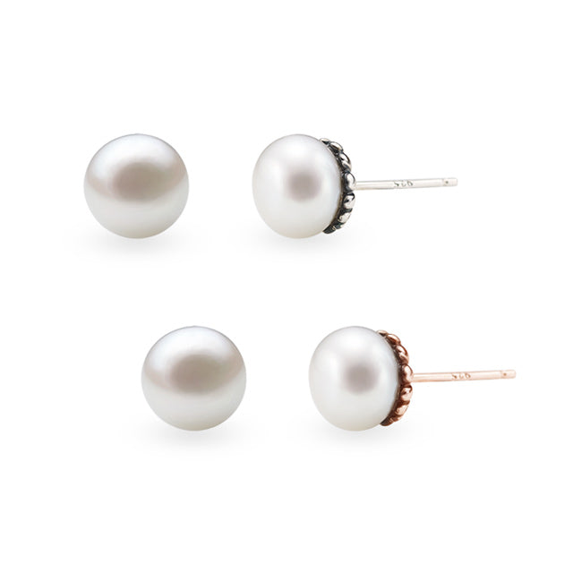 Botanical Garden Daisy Pearl Silver Earrings