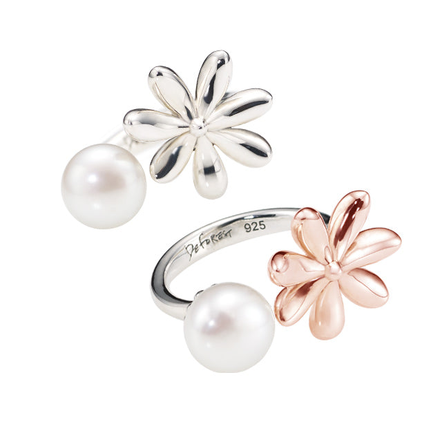 Botanical Garden Daisy Silver Open Ring (2 color)