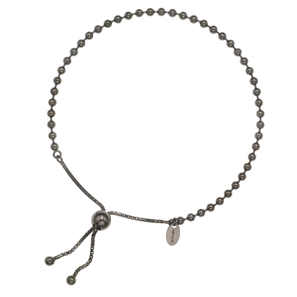925 Silver Ball Chain Slide Bracelet-Black