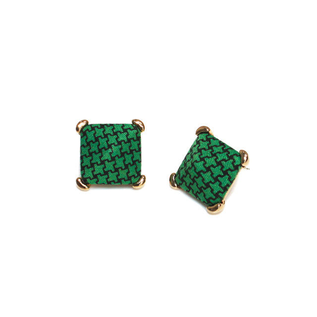 Hound's Tooth Green Button Earring
