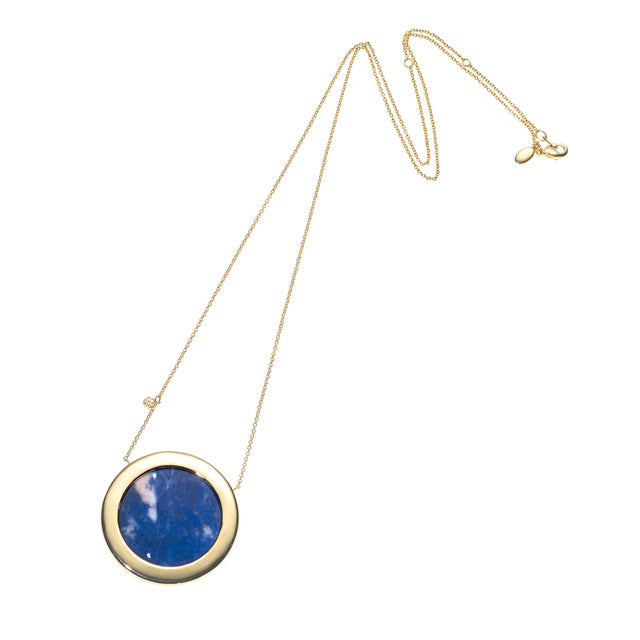 Full Moon Long Necklace-Brass