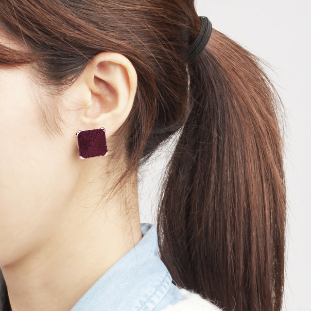 Suede Burgundy Button Earring