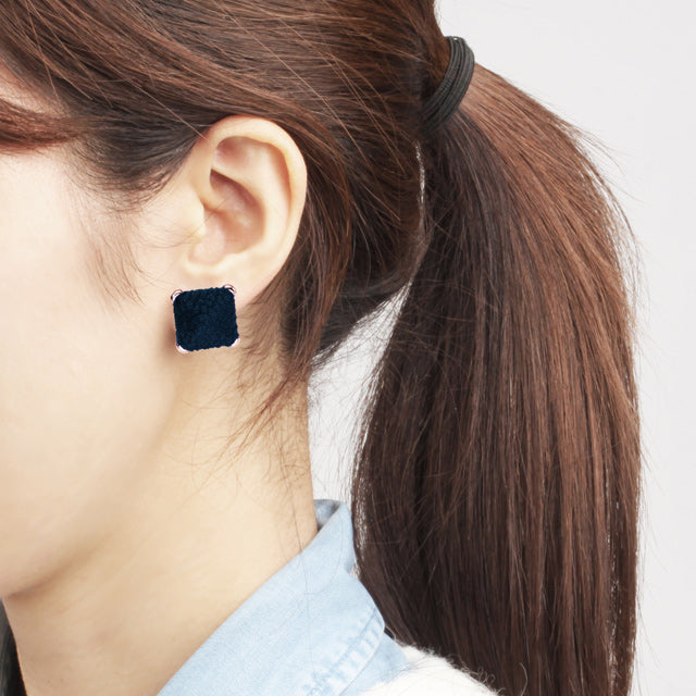 Suede Navy Button Earring