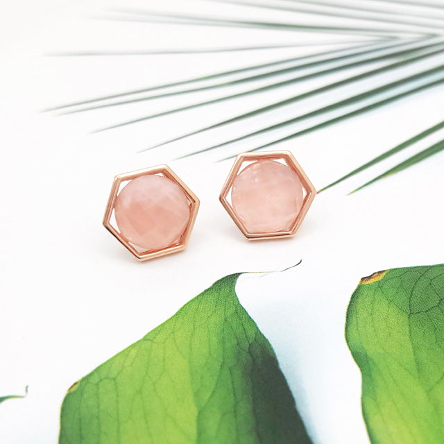 Pink Quartz Hexagon Stud Earring