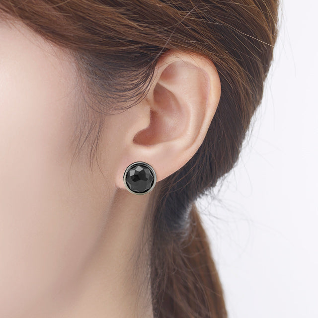 Black Agate Round Stud Earring (2 color)