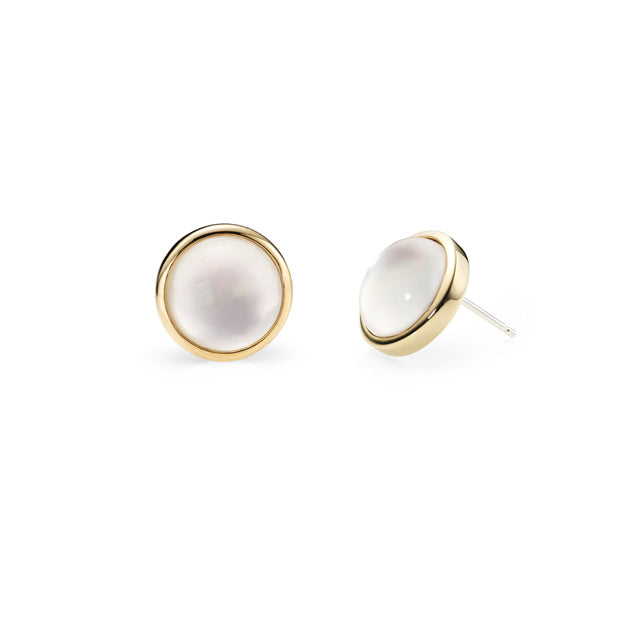 Moon Light Mop Round Stud Earring (2 color)