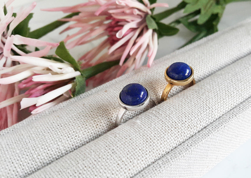 Lapis Lazuli Gemstone Round Ring (2 color)