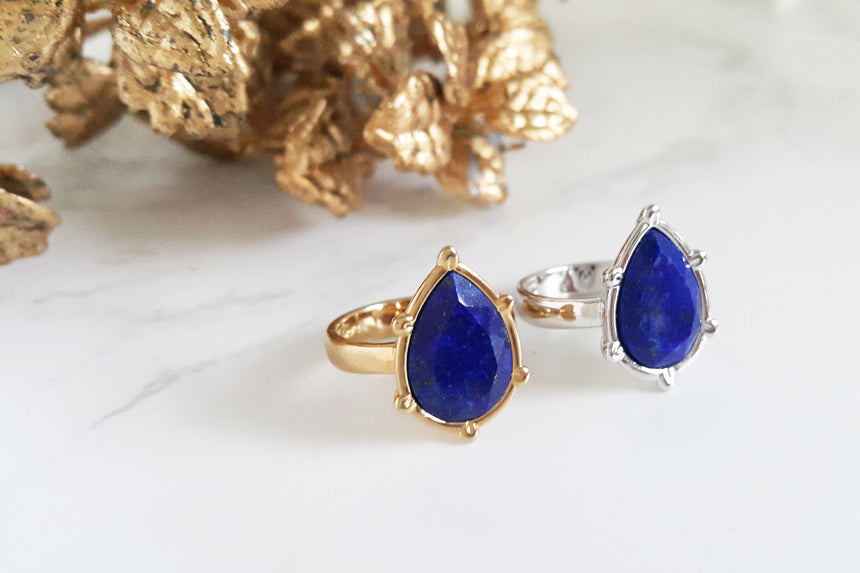 Lapis Lazuli Gemstone Drop Water Ring (2 color)
