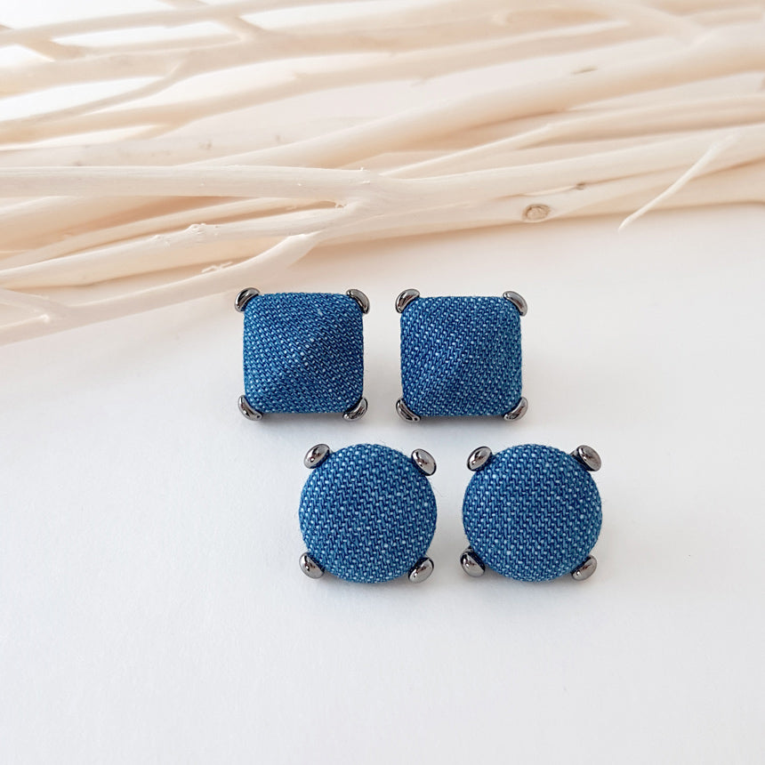 Dark Denim Button Earring
