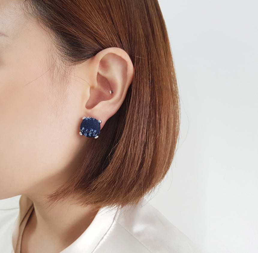 Dark Fray Denim Button Earring