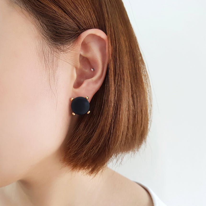 Black Leather Button Earring