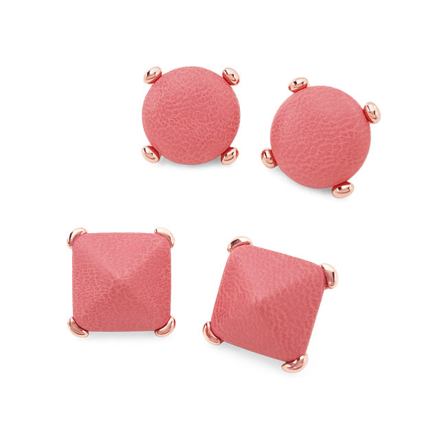 Coral Leather Button Earring