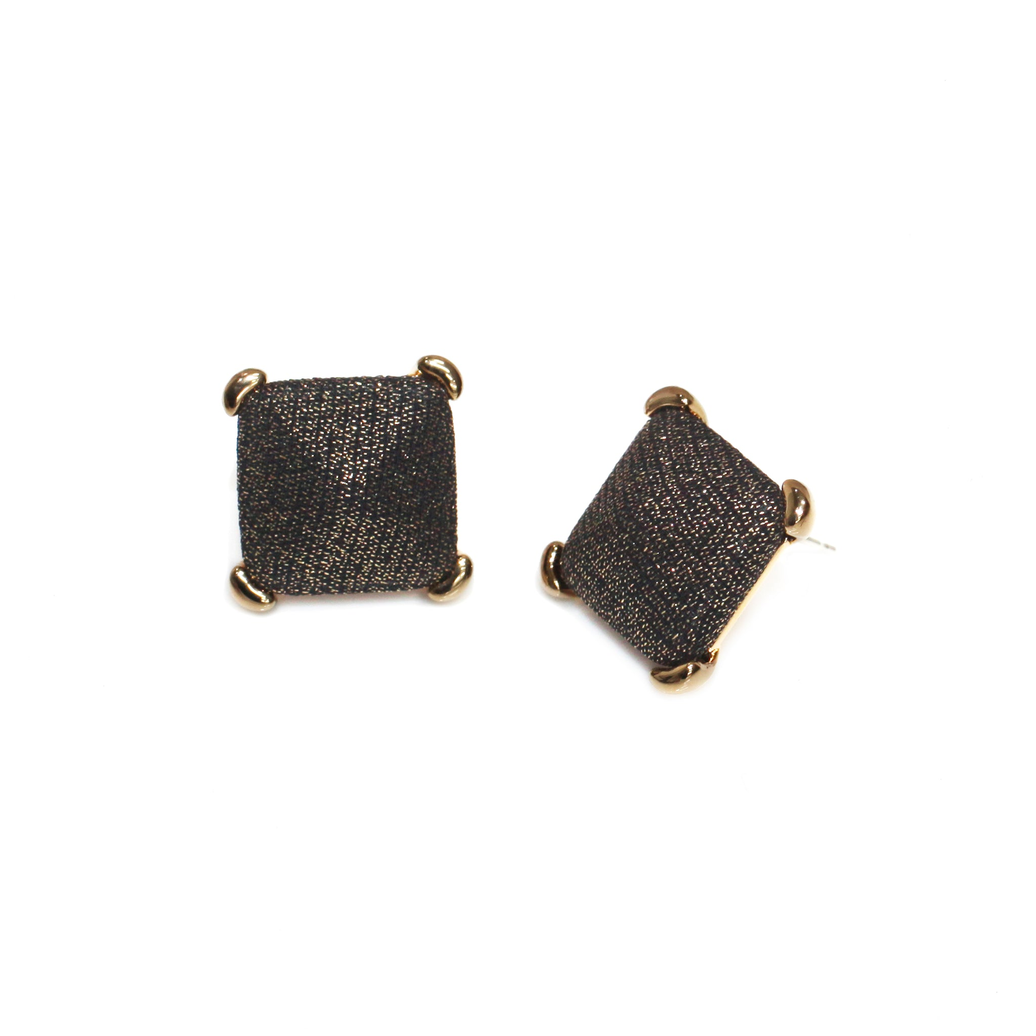 Square Black Golden Shine Button Earring