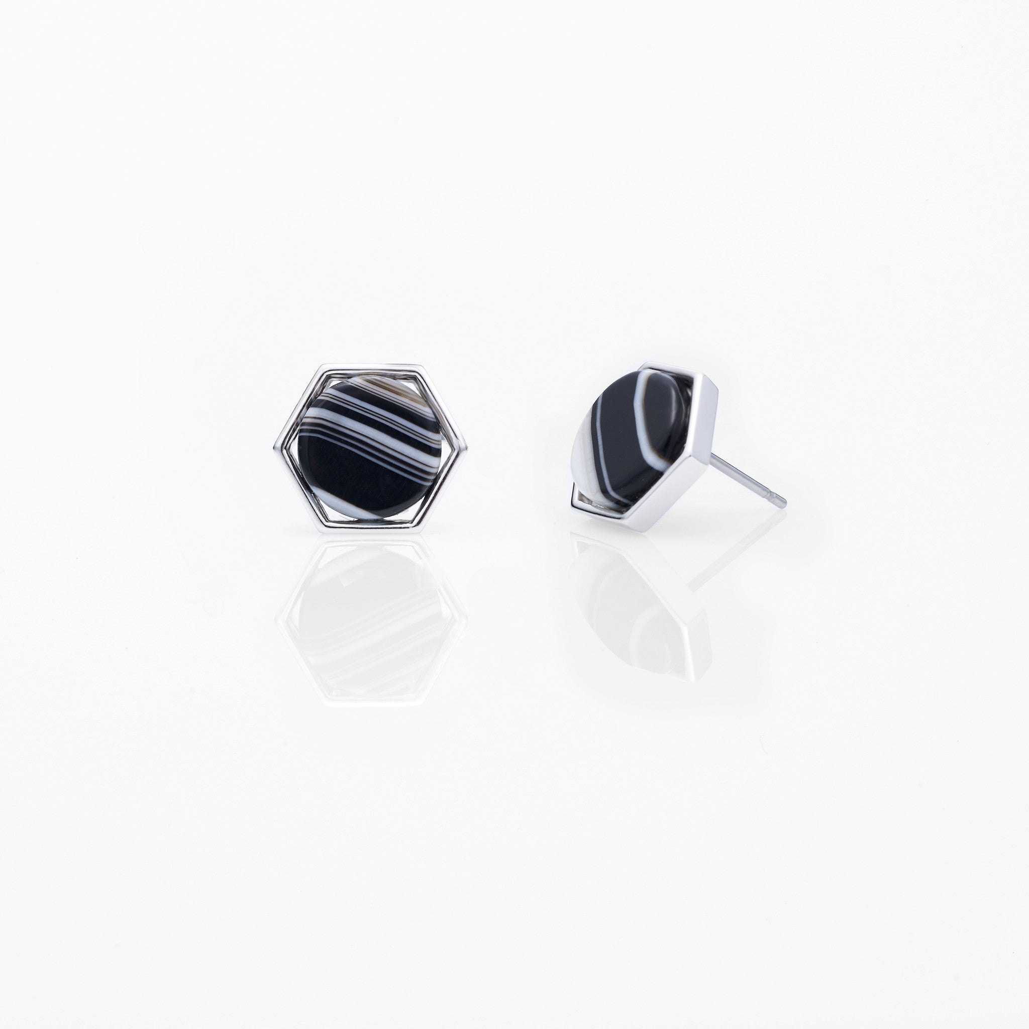 Round Hexagon Stud Earring-RH