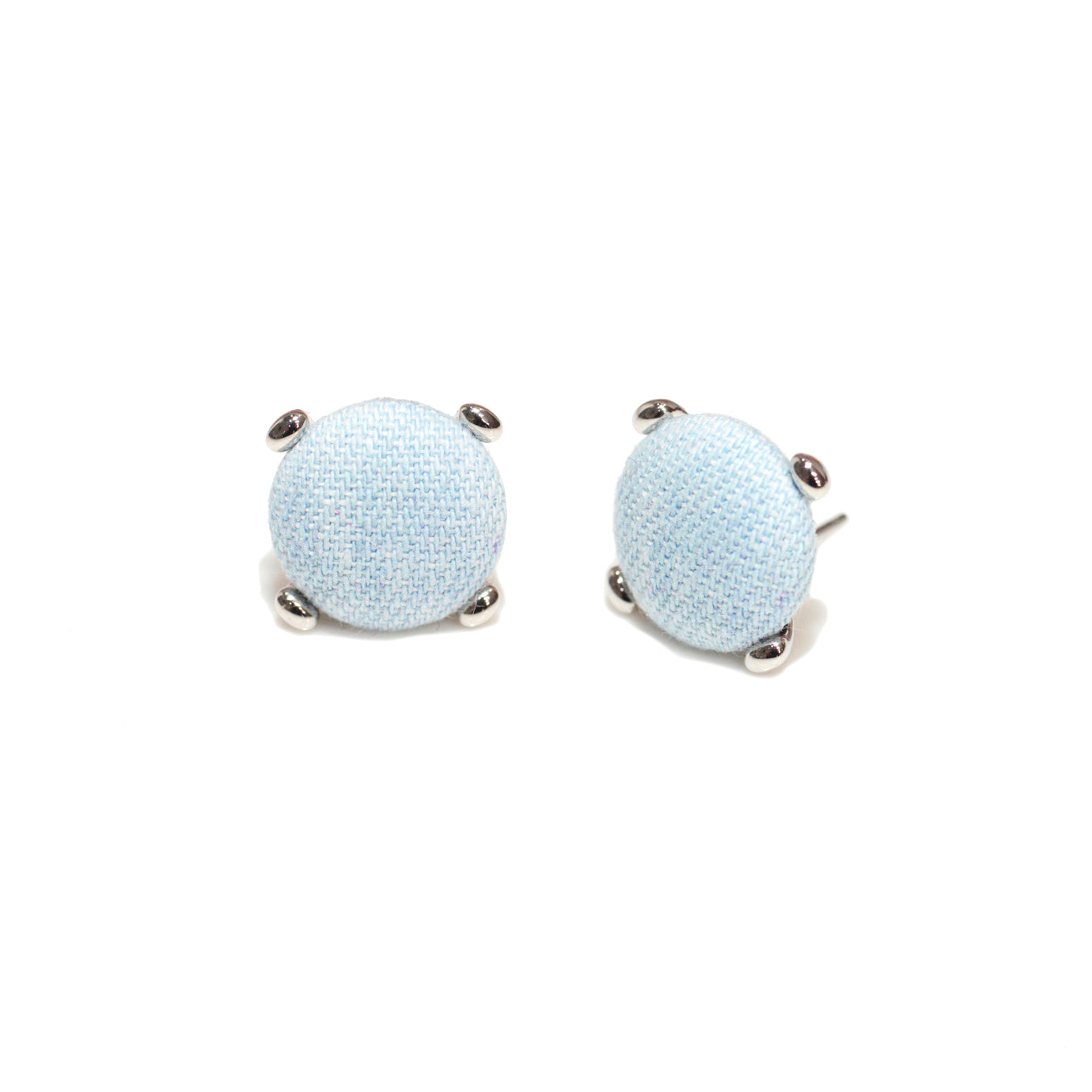 Round Light Denim Button Earring
