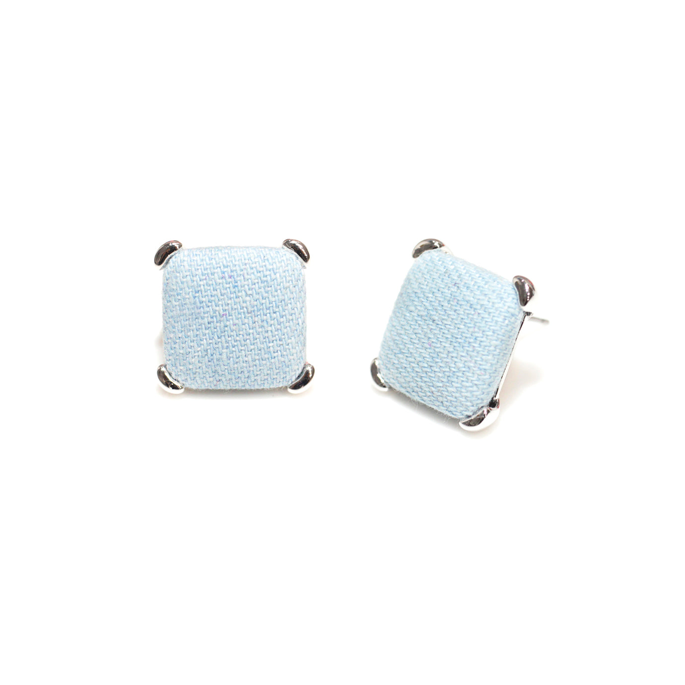 Square Light Denim Button Earring