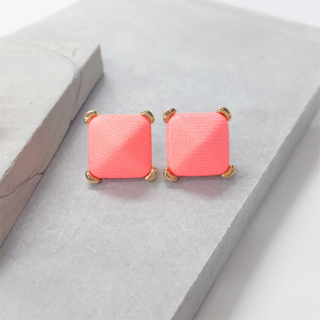 Neon Pink Button Earring