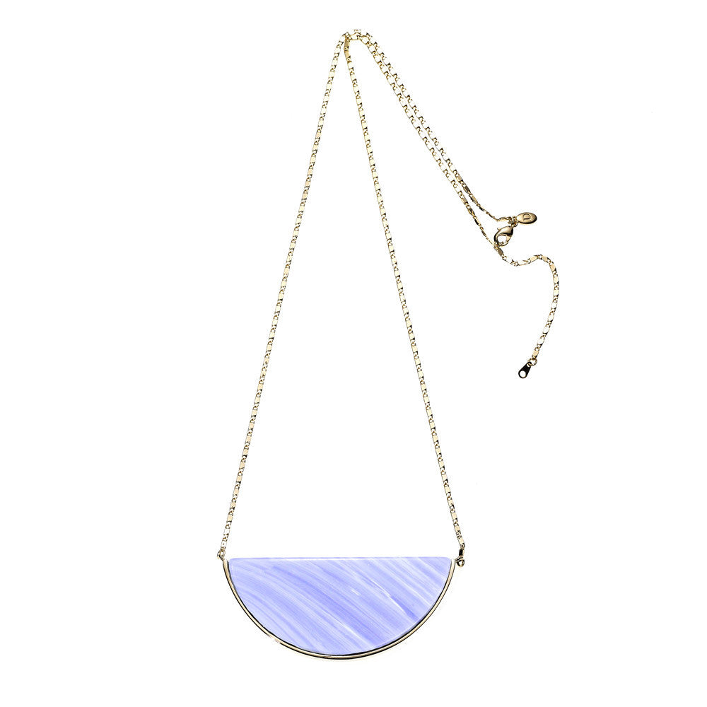 Reversible Moon Rock Necklace-Blue Lace Agate