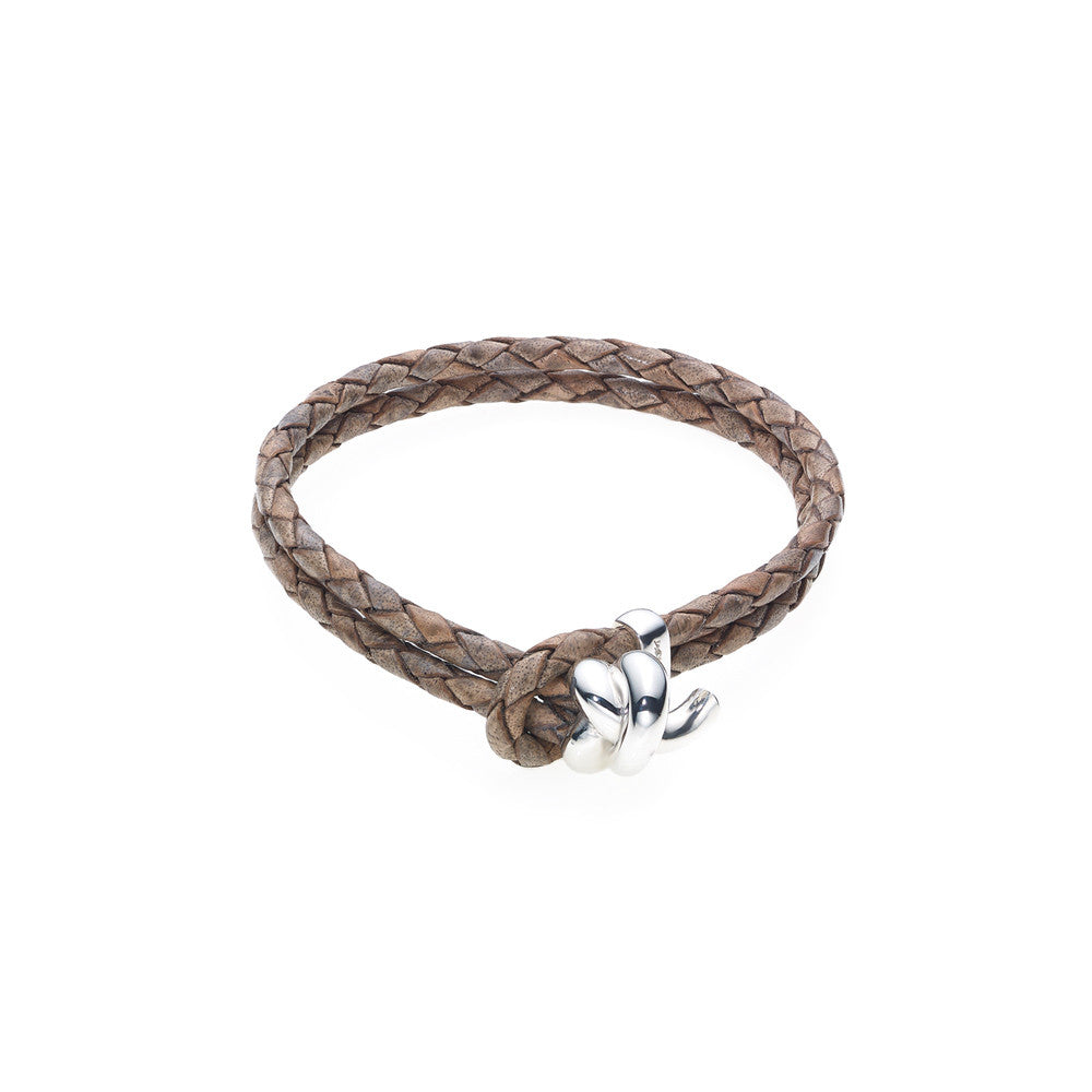 Love Knot Leather Bracelet-BROWN