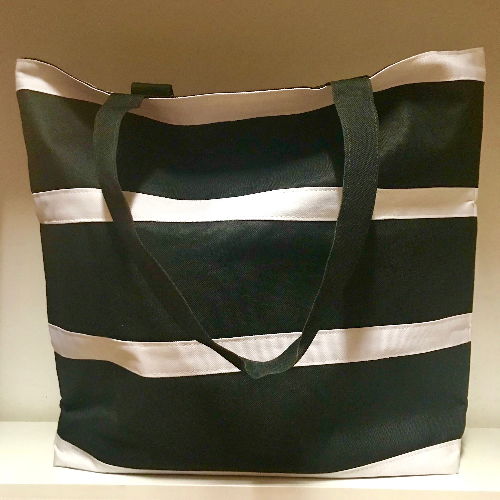 Black and white striped hold all bag
