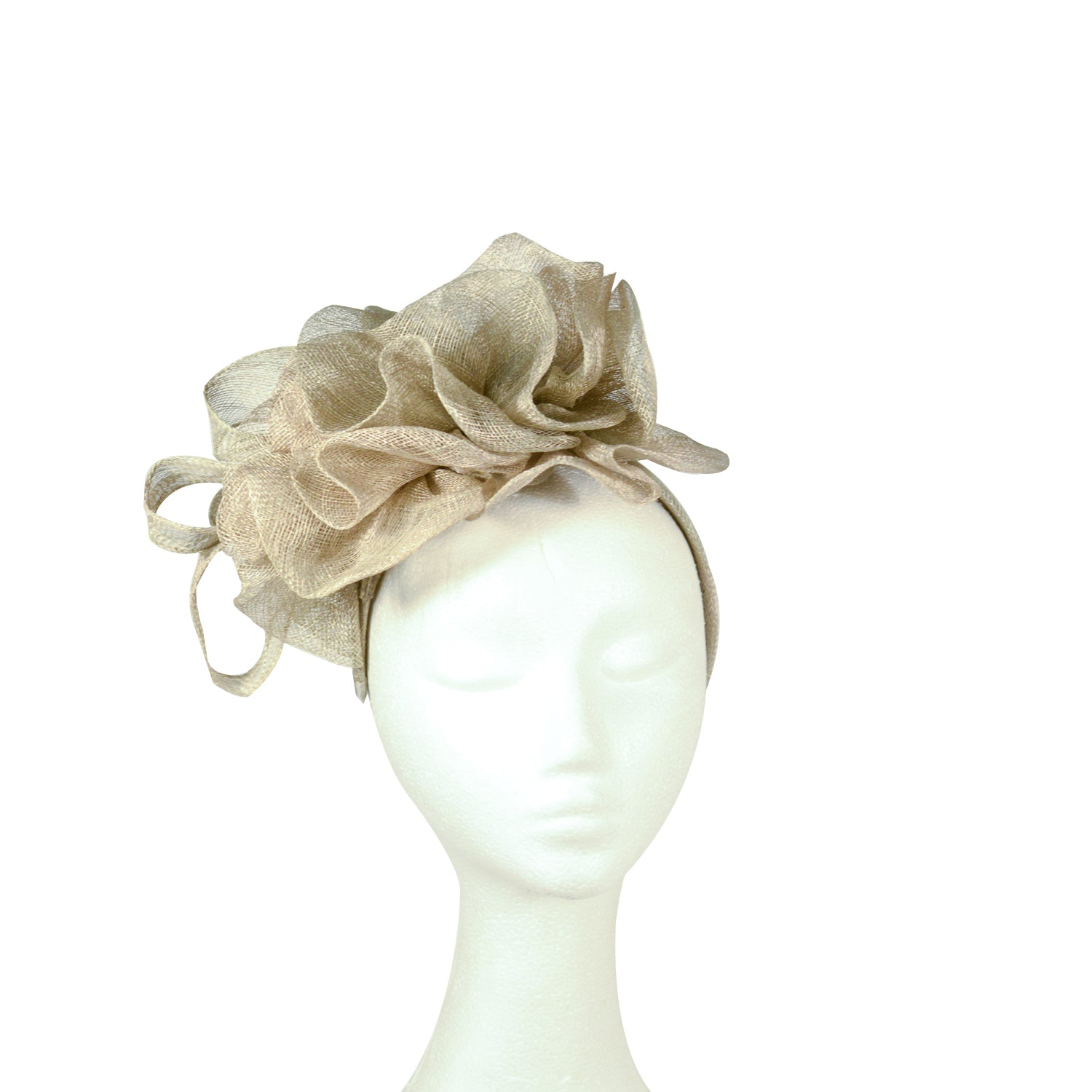 Grey fine folded sinamay  fascinator