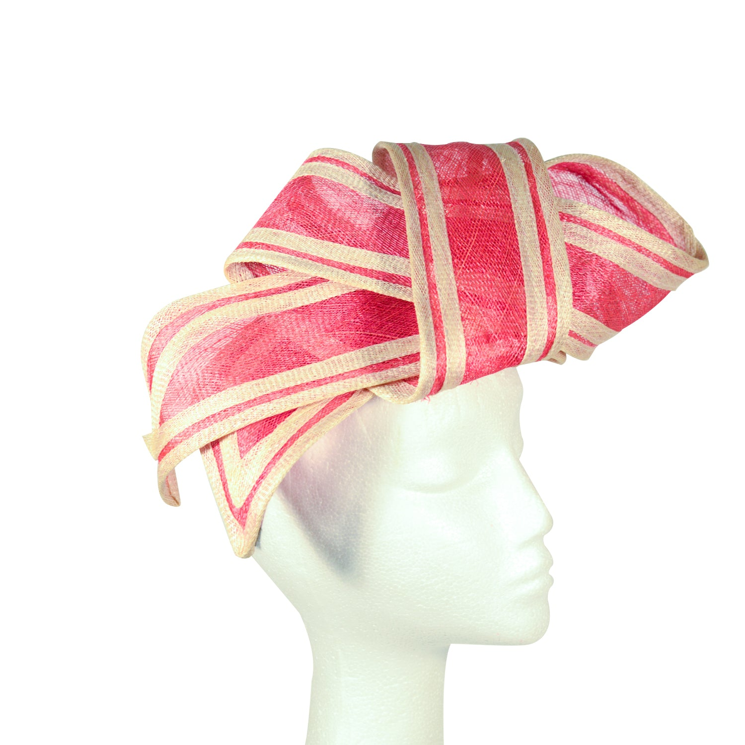 Pink Fuscia and cream fine sinamay straw bow