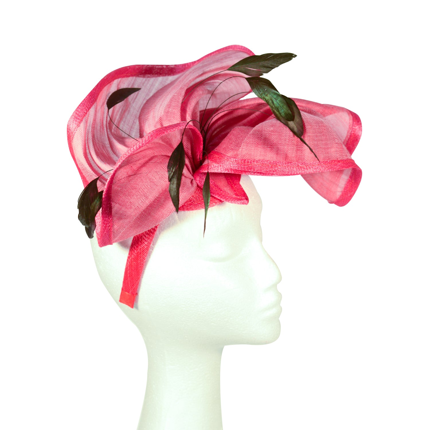 Pink Fuscia soft folded Abica straw with black feathers