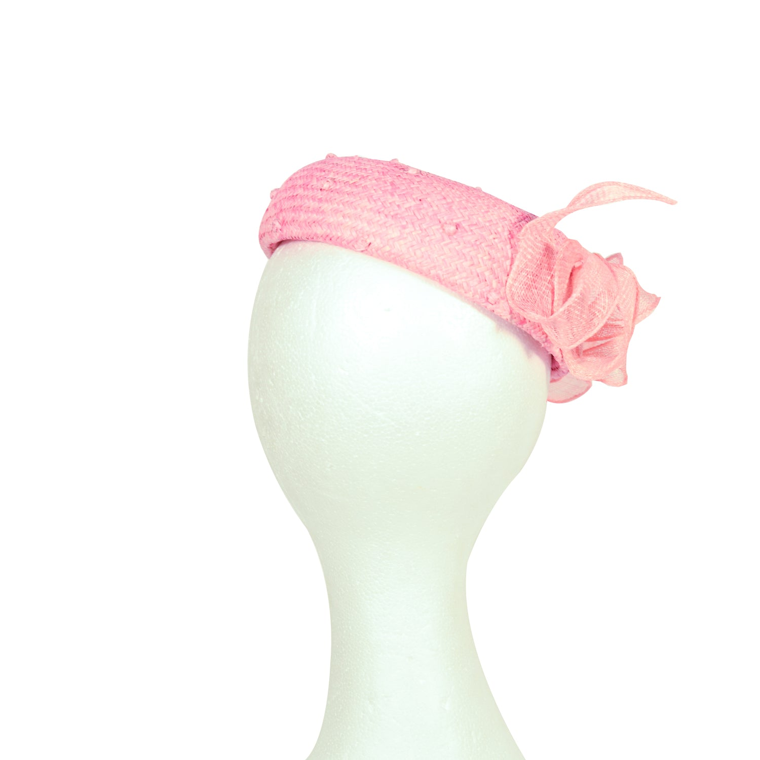 Pink knotted straw pill box fascinator