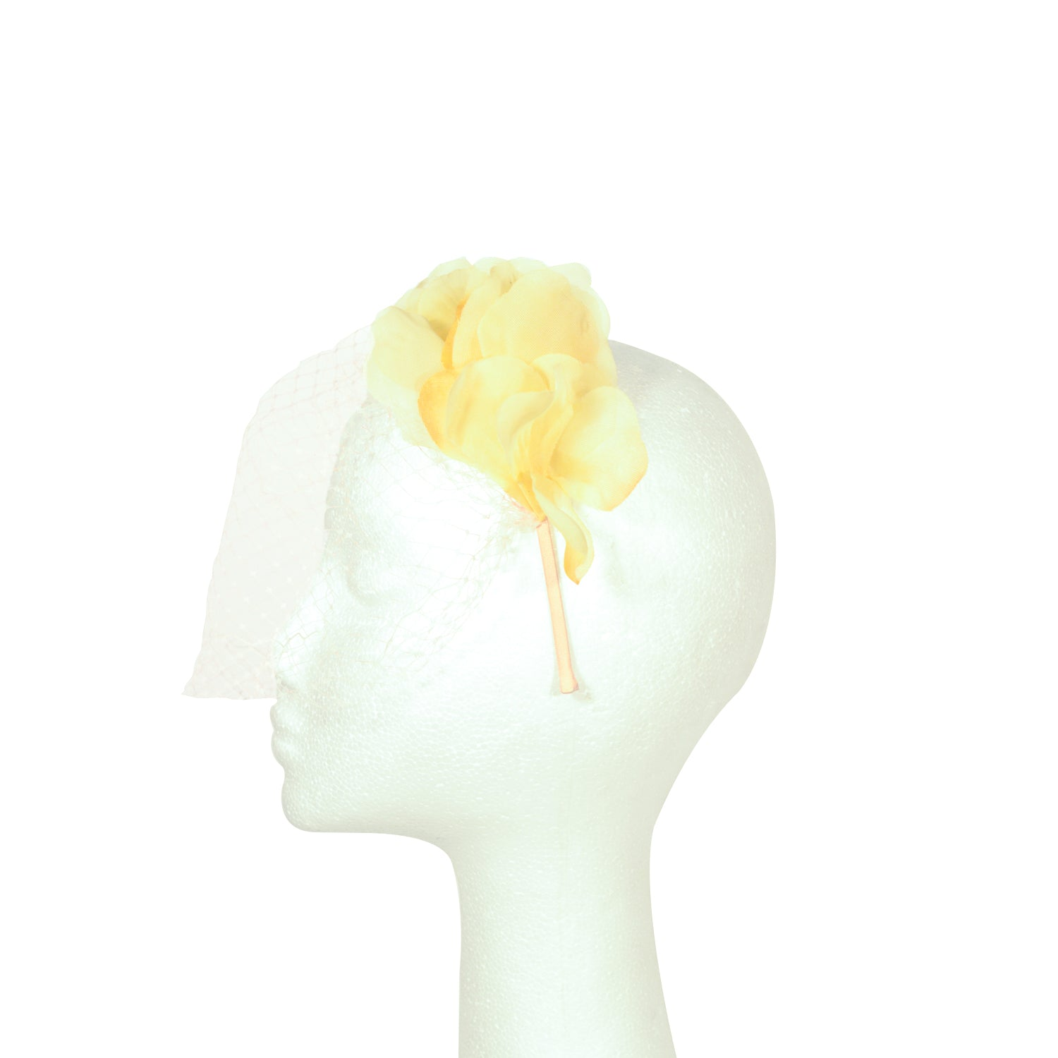 Yellow with nude net fascinator