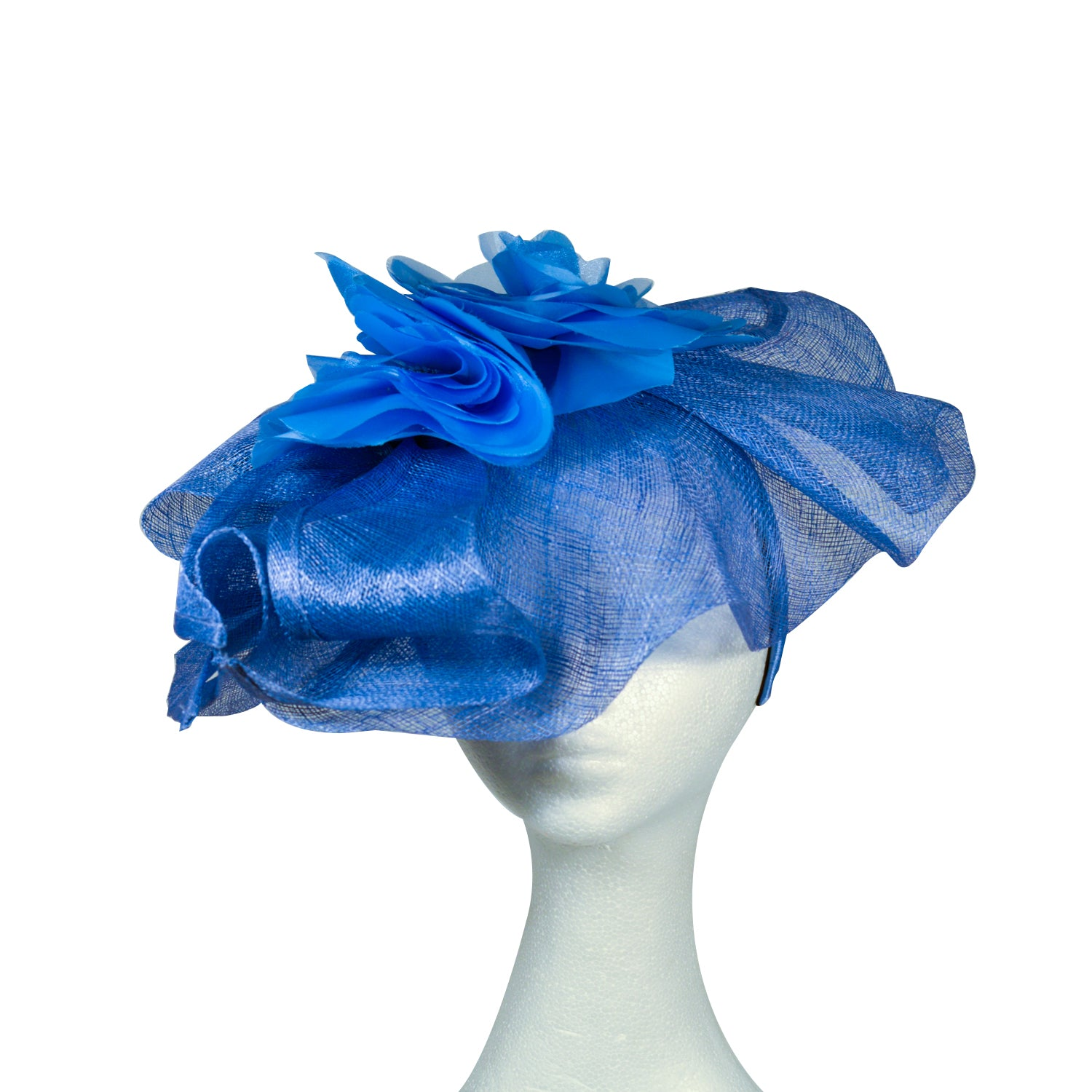 Blue sinamay and flower fascinator