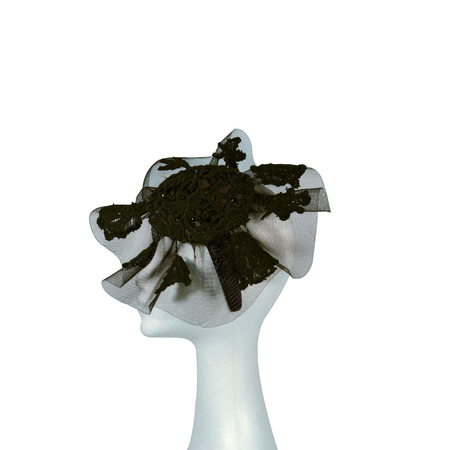 Black with lace on crinoline fascinator