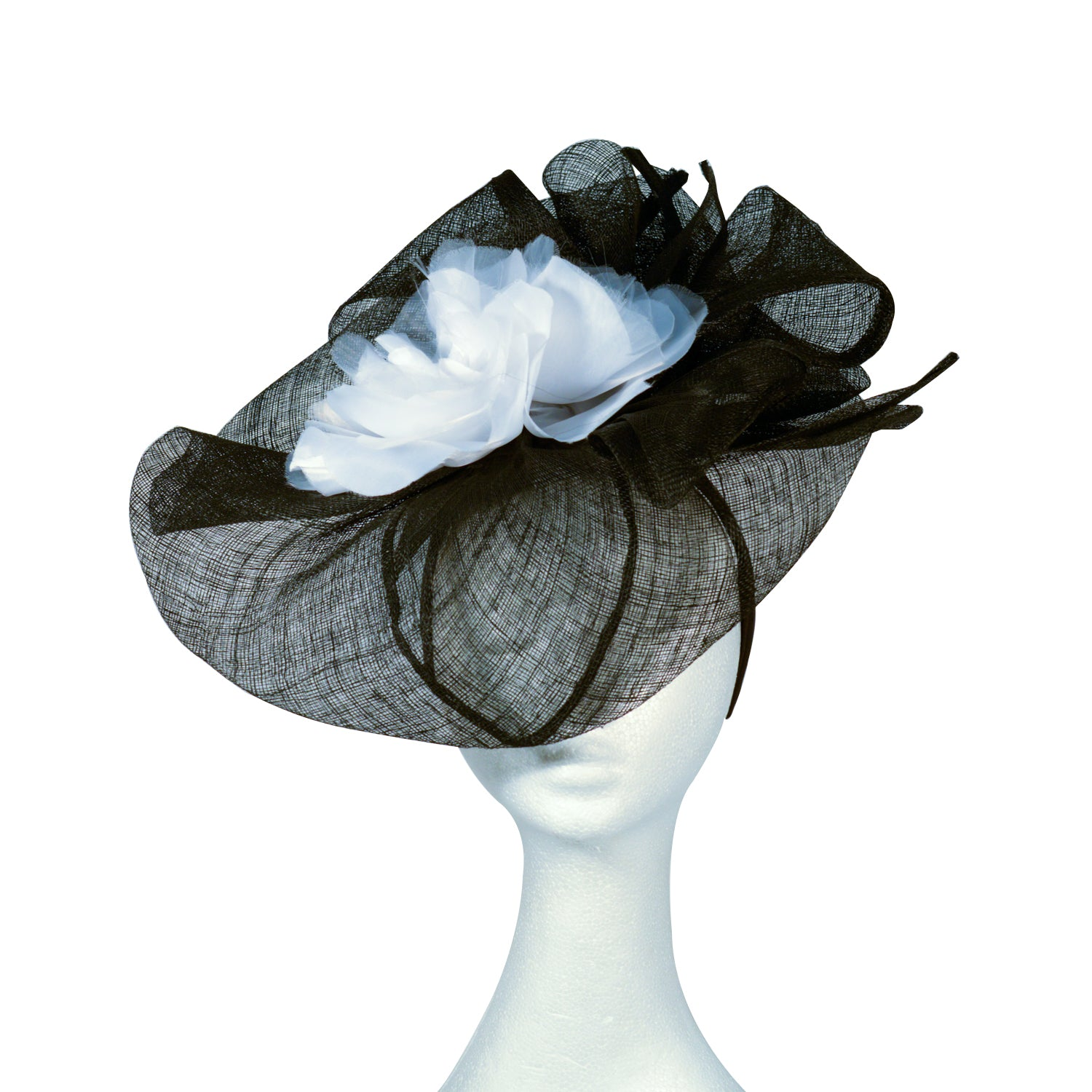 Black with white flower fascinator