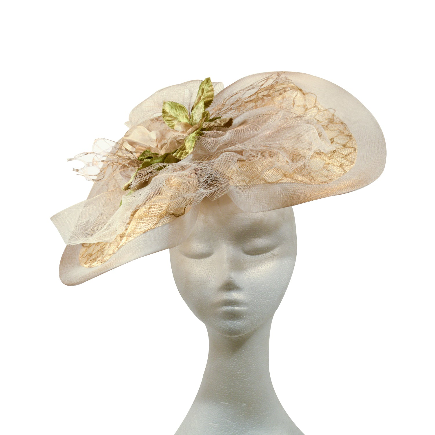 Cream Beige neutral lace and crinolin with green velvet leaves -bespoke by Julie Perlouze Paris