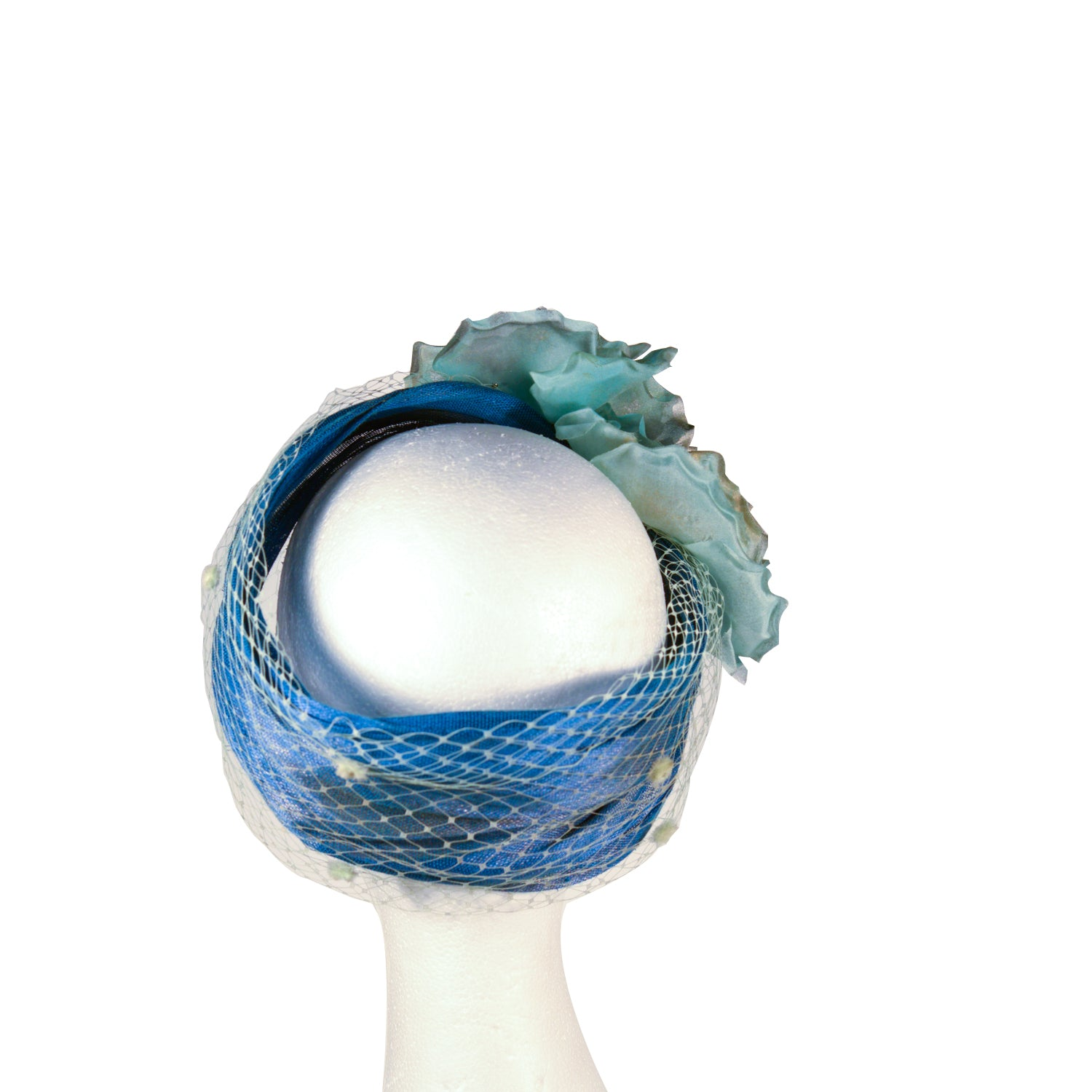 Blue floral turban style bespoke by Julie Perlouze Paris