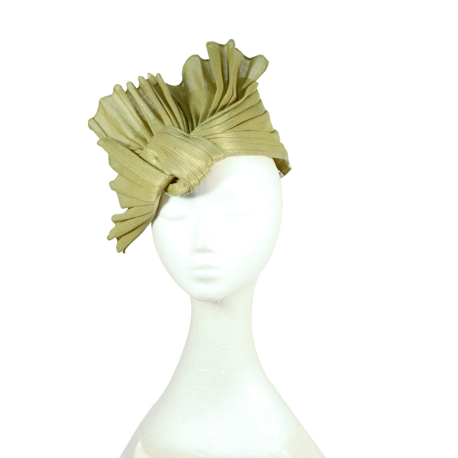 Green pleated abacus straw structured turban style